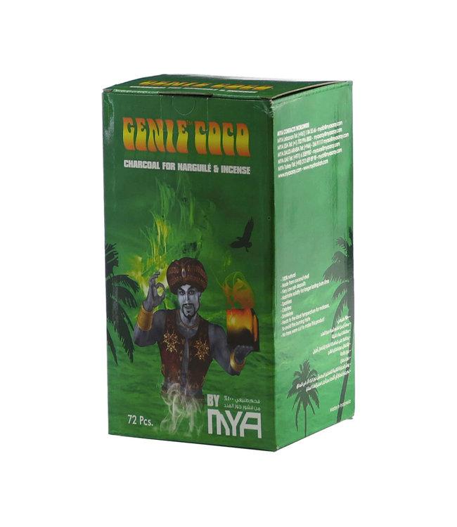 MYA Genie Coco Hookah Charcoal Cubes 72-Pack (Green Box)