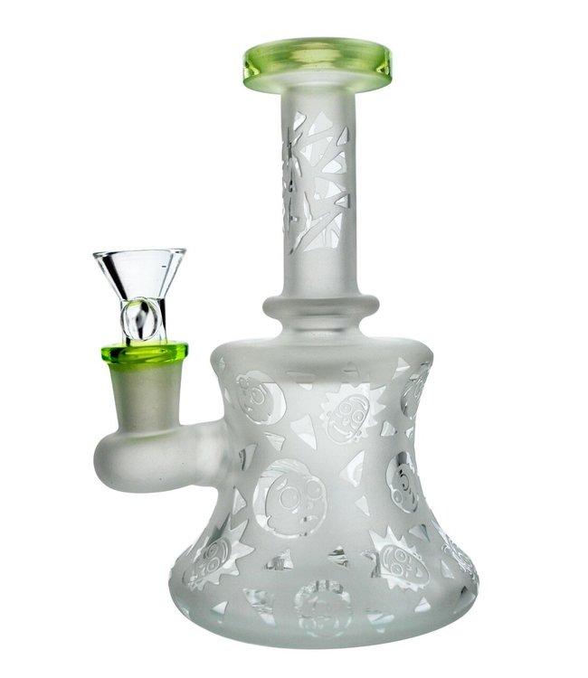 "Illuminati Glass Illuminati Glass 6"" Laser Etched Rick & Morty Banger Hanger Green Slyme"