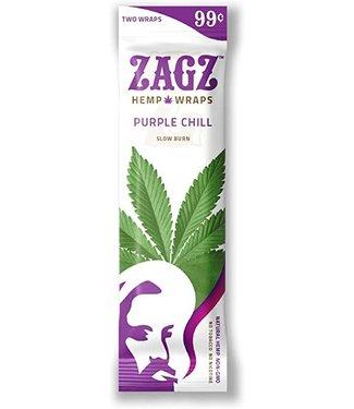 """Zig Zag Zig Zag """"Zagz"""" Hemp Wraps 1.25"""" 2-Pack Purple Chill"""