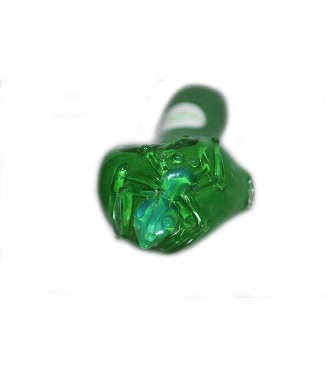 "Jellyfish Glass 4.5"" Green Frit UV Reactive Spoon Spider"