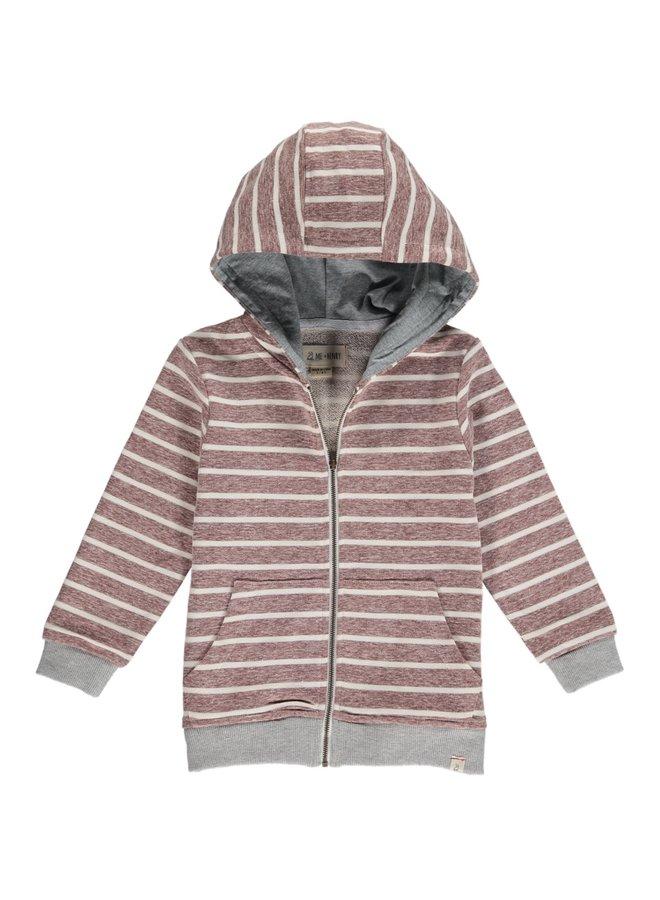 Brown/Cream stripe hooded top