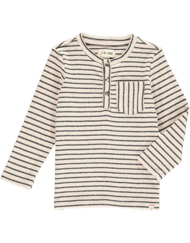 Cream/Grey stripe Henley tee
