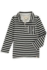 Black/grey stripe polo