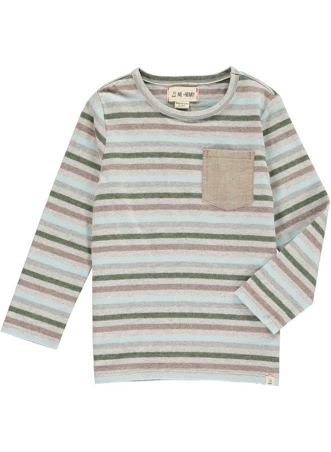 Grey multi stripe tee