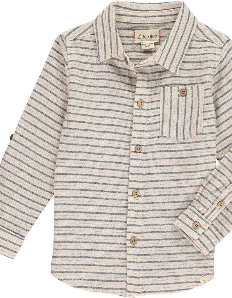 Beige/Navy/Red stripe shirt