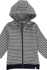 Navy/Cream stripe hooded top