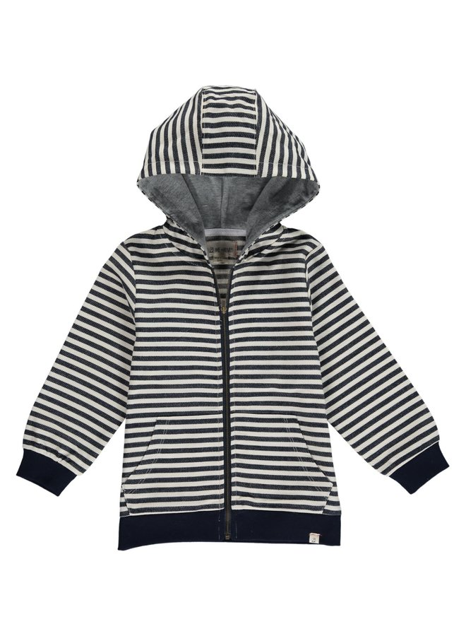 Navy/Cream stripe hooded top