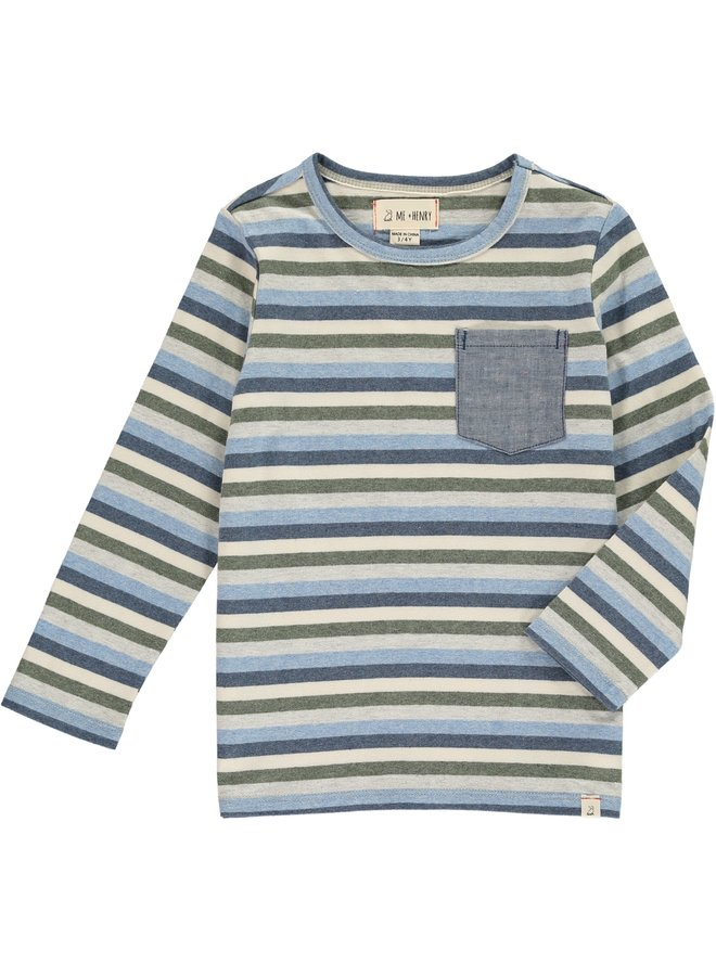 Blue multi stripe tee