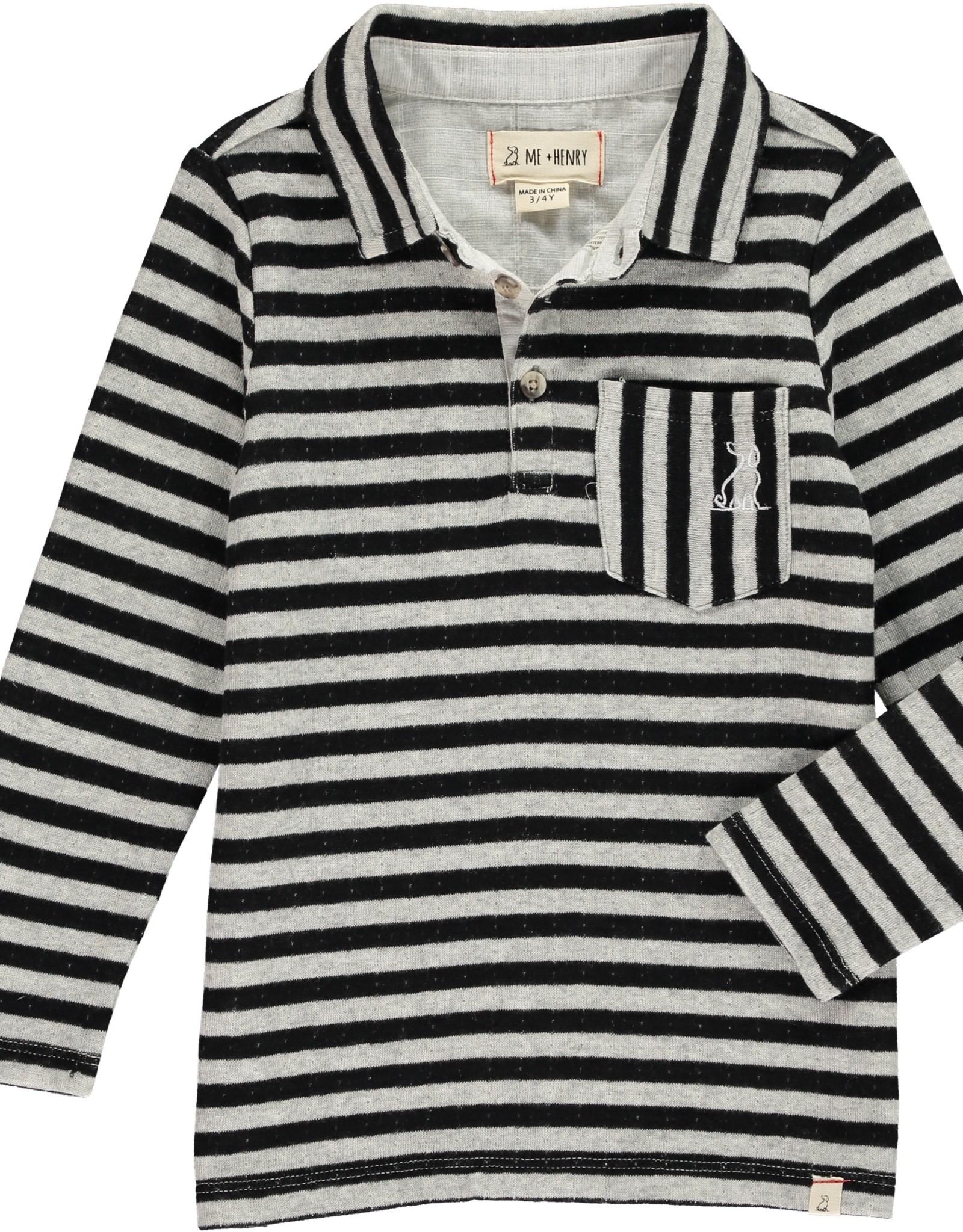 Black/grey stripe polo