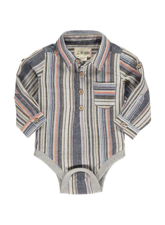 Multi stripe woven onesie
