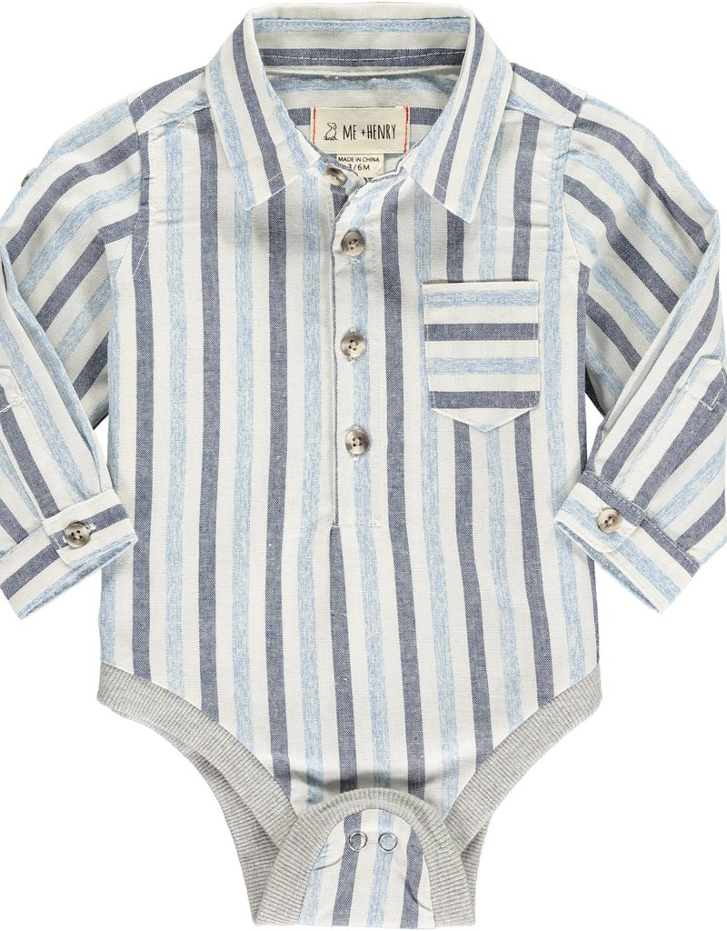 Blue multi stripe woven onesie