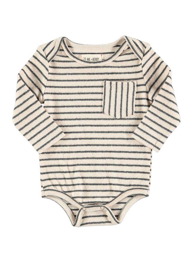 Navy stripe onesie