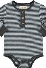 Blue stripe Henley onesie