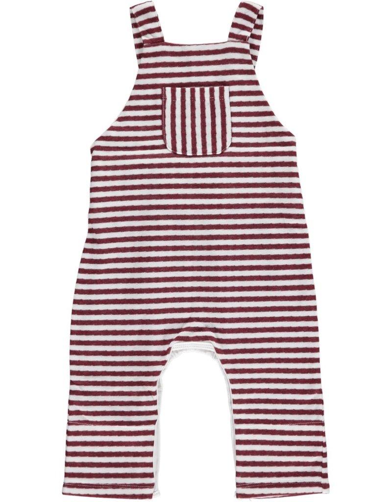 Wine striped overalls