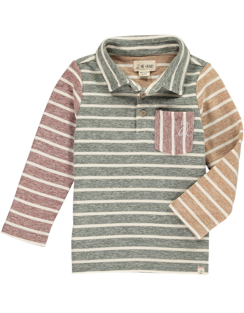 Green/multi stripe polo