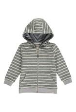 Green/Cream stripe hooded top