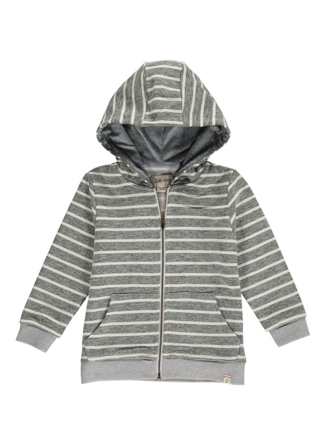 Green/Cream stripe hooded top