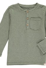 Green stripe Henley tee