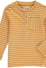 Gold stripe Henley tee