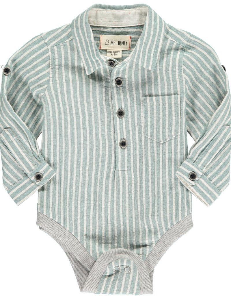 Green stripe woven onesie