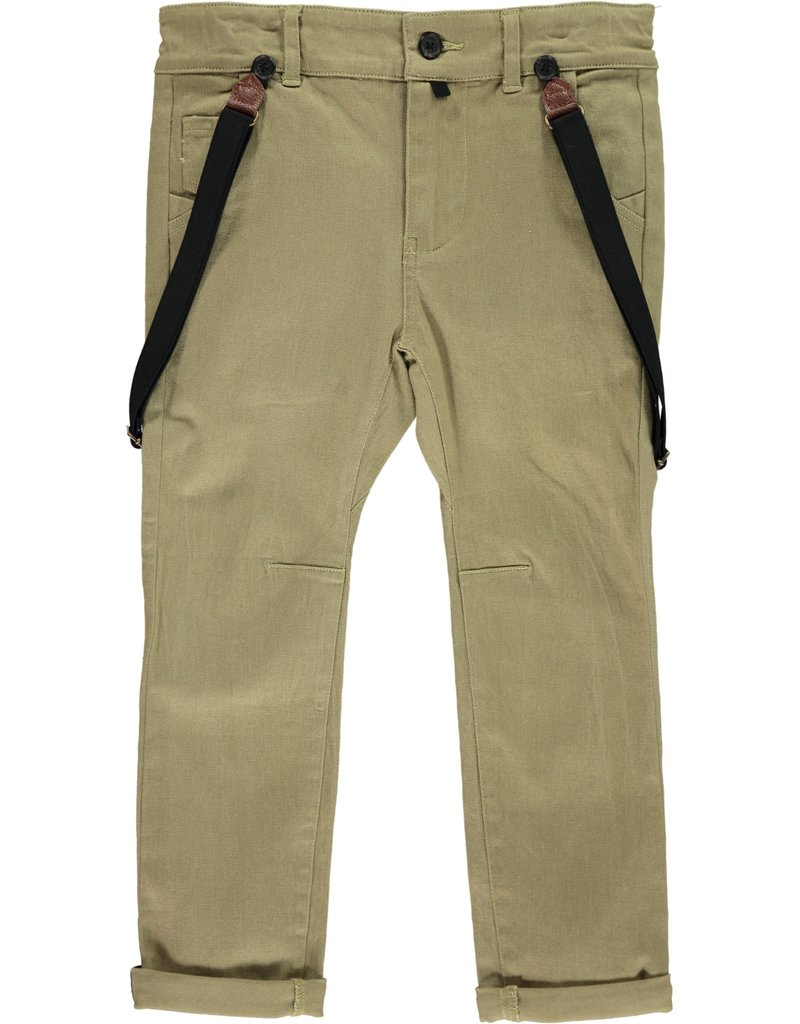 Olive woven pants with suspenders