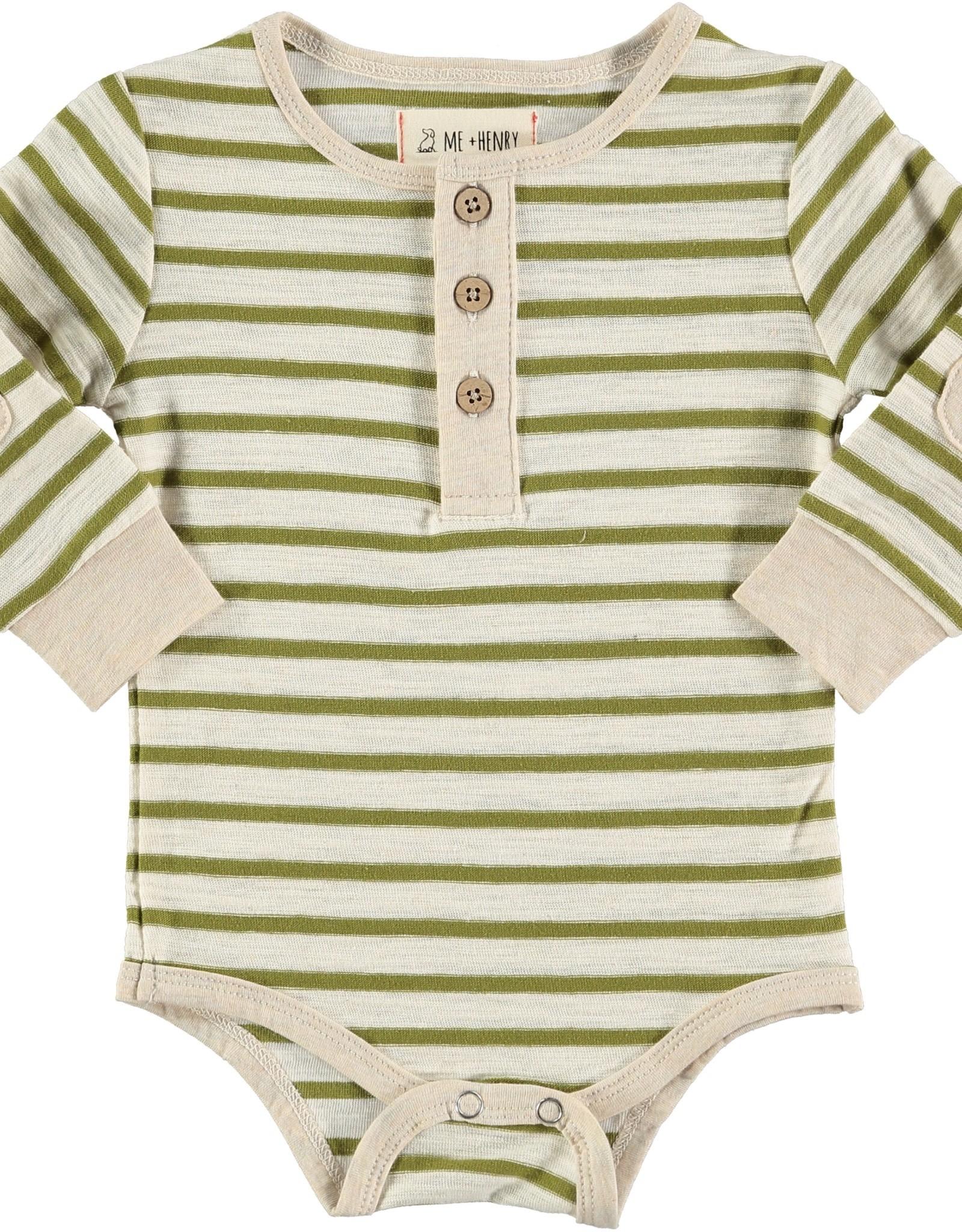 Olive stripe slub Henley onesie