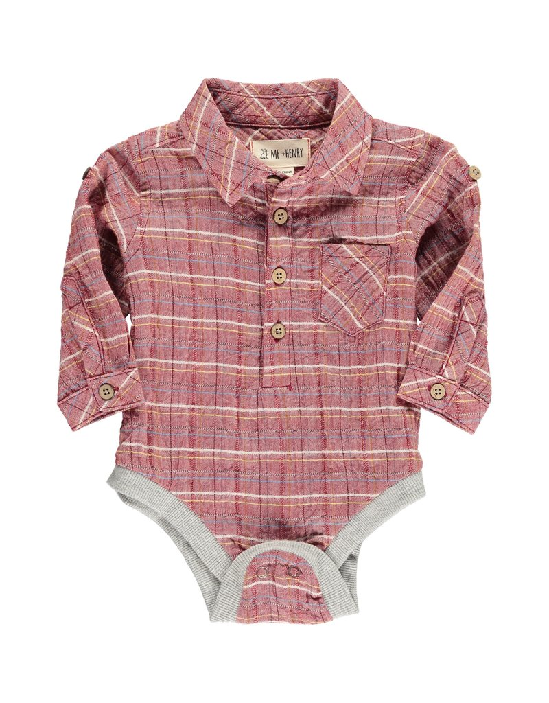 Red plaid woven onesie
