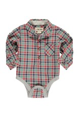 Green/Red plaid woven onesie