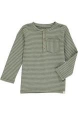 Green stripe Henley tee