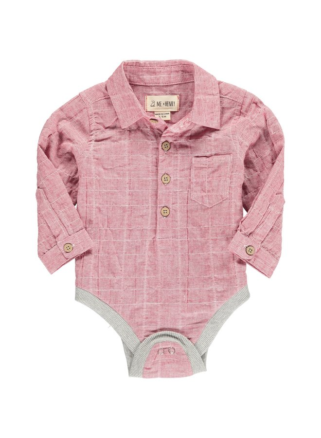 Red plaid button onesie