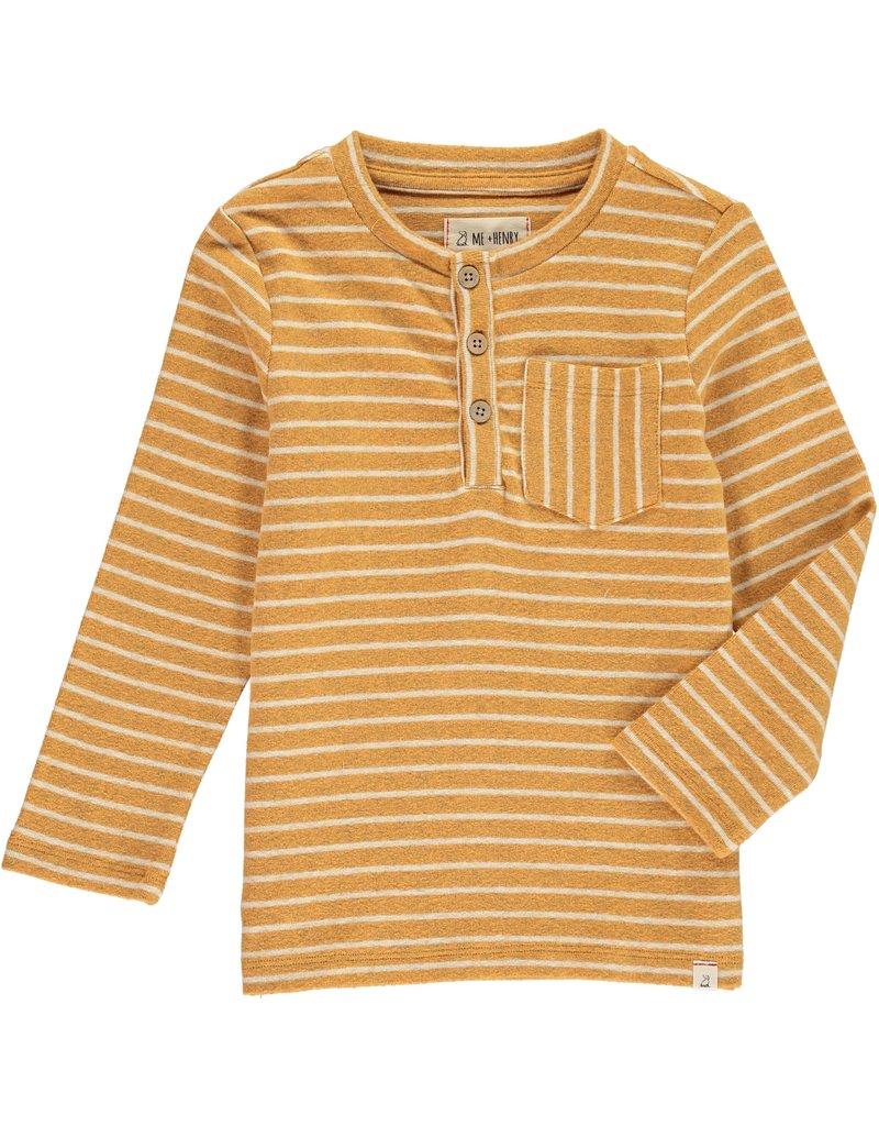 Gold stripe Henley tee
