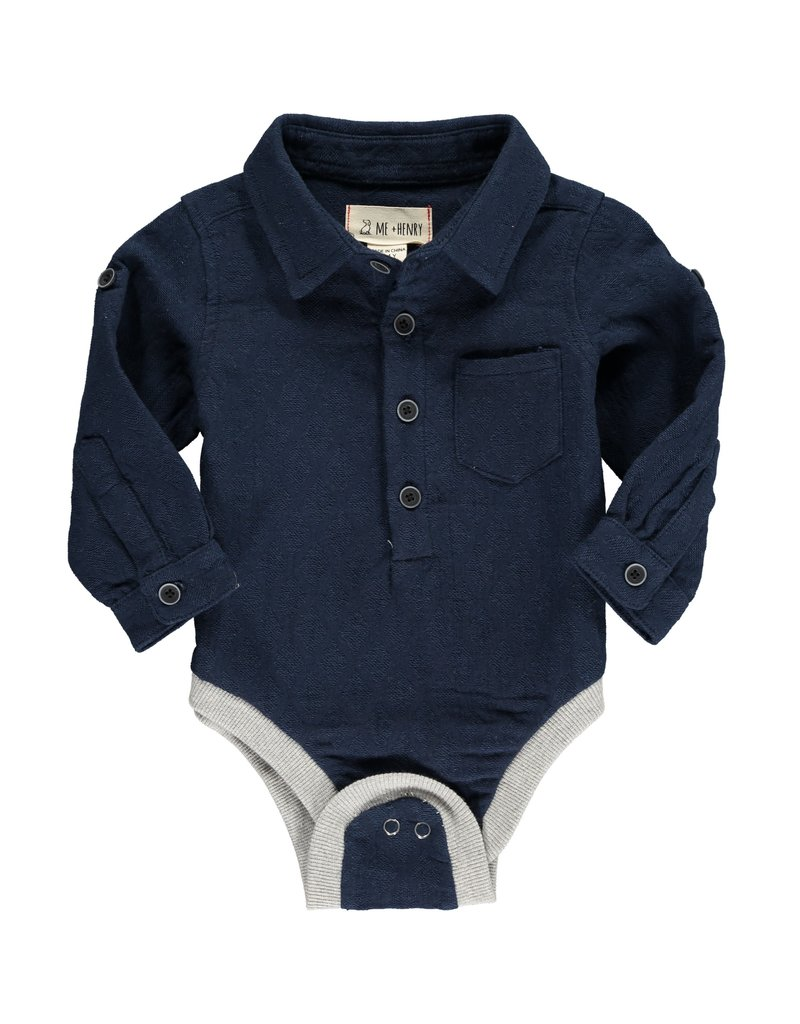 Navy woven onesie