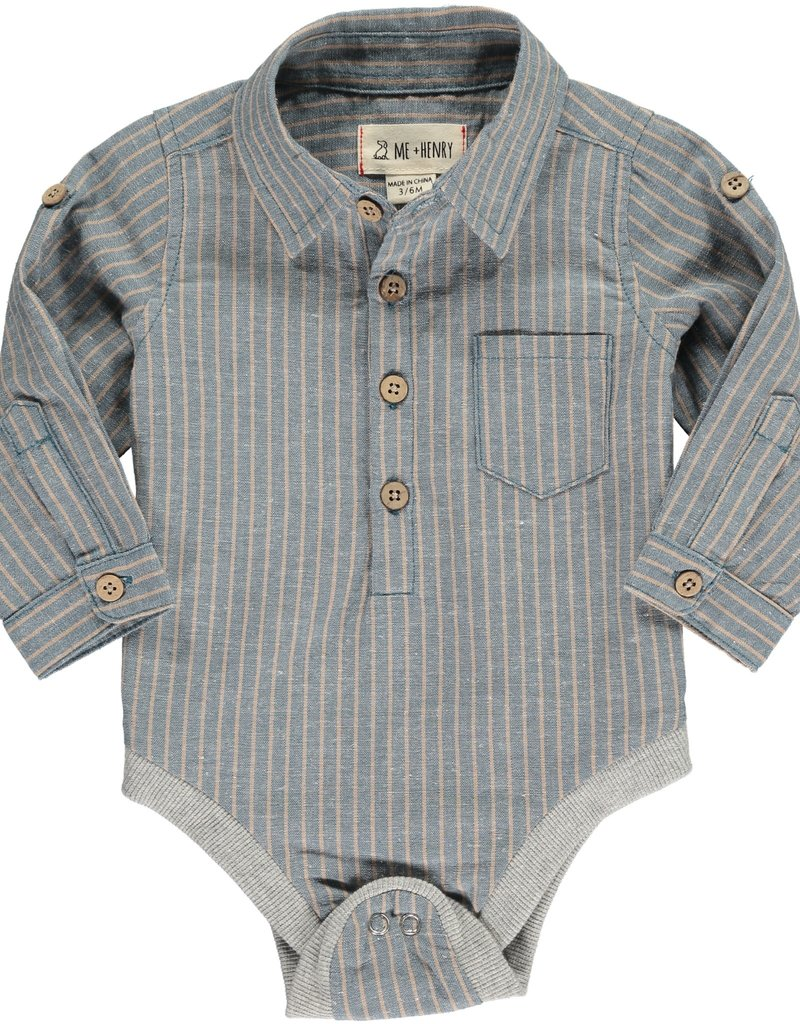 Blue/Beige stripe woven onesie