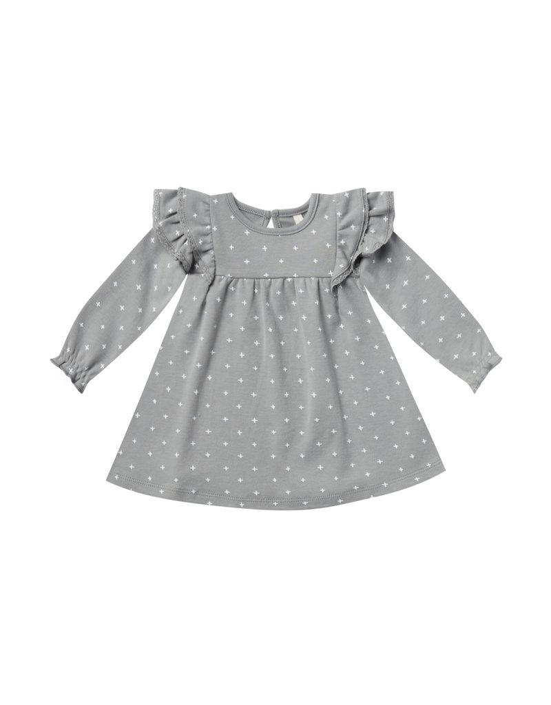 Longsleeve Flutter Dress - dusty blue
