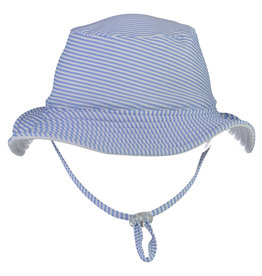BLUE & WHITE STRIPE REVERSIBLE BUCKET HAT