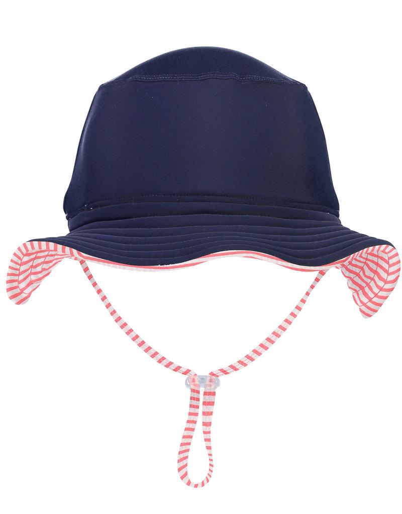 RED & WHITE STRIPE REVERSIBLE BUCKET HAT