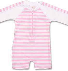 SUNSUIT LS - PINK/WHITE STRIPE