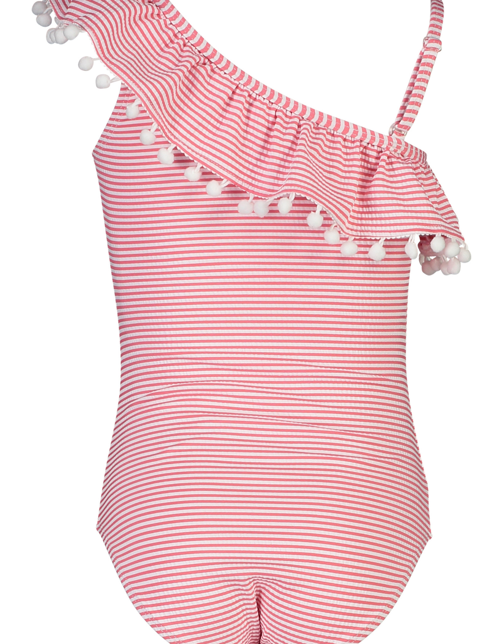 RED & WHITE STRIPE ONE SHOULDER FRILL SWIMSUIT