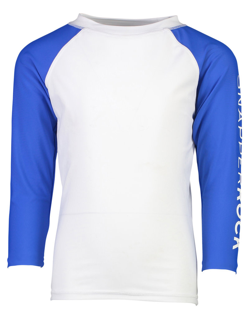 WHITE BLUE ARM LS RASH TOP