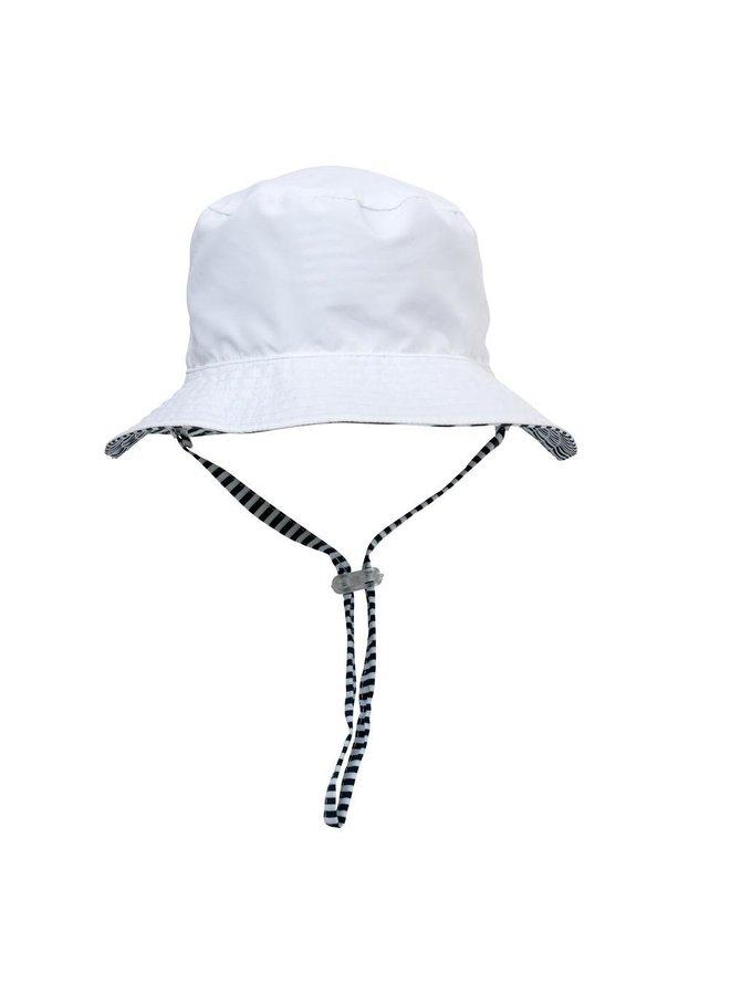 WHITE & NAVY STRIPE REVERSIBLE BUCKET HAT