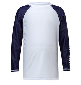 WHITE/NAVY LONG SLEEVE RASH TOP