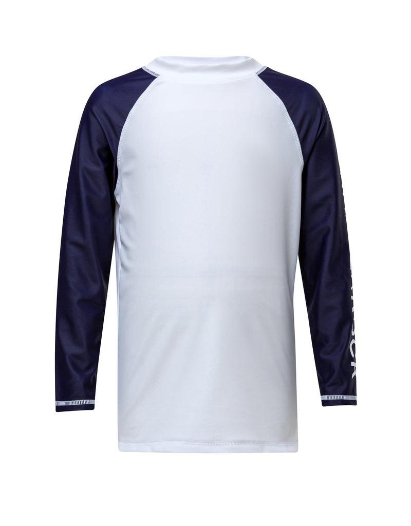 WHITE/NAVY LONG SLEEVE RASH TOP