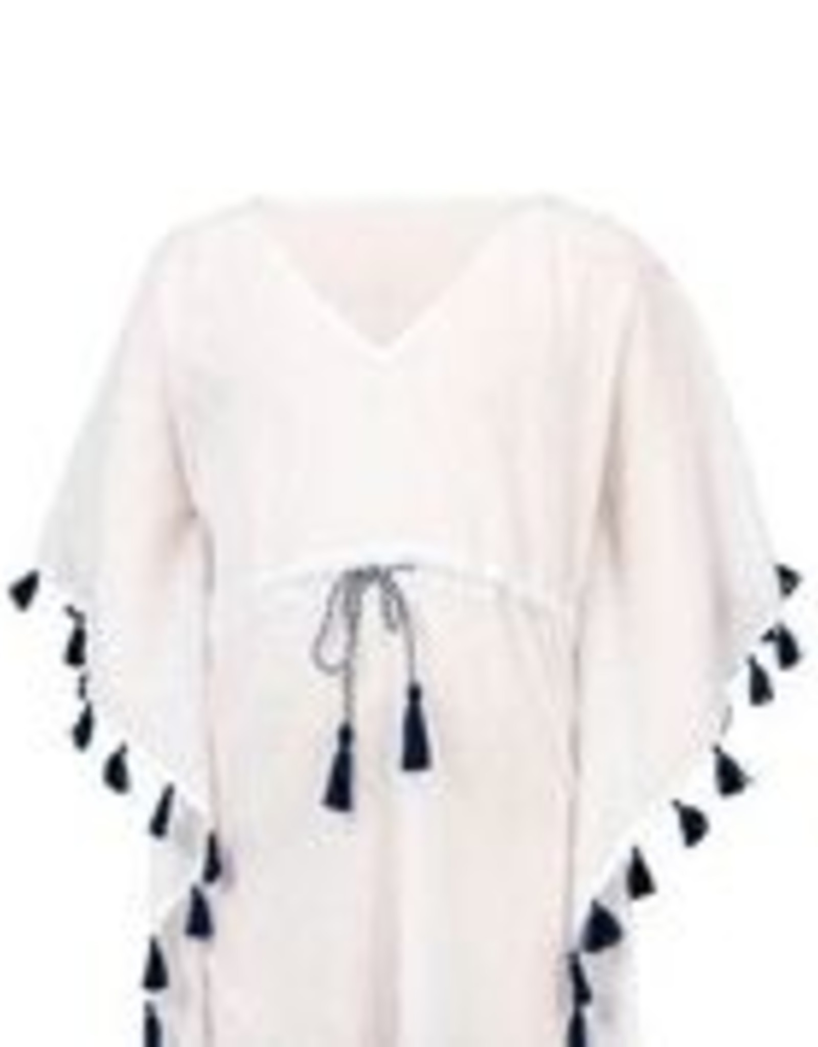 WHITE/NAVY TASSEL COVER UP