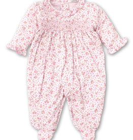 SMOCKED FOOTIE/ BACK SNAP - DUSTY ROSE