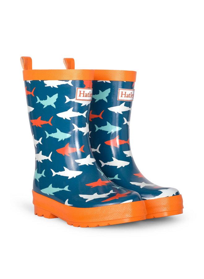 GREAT WHITE SHARKS SHINY RAIN BOOTS