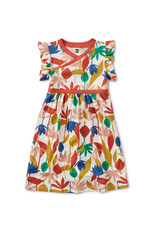 WRAP NECK DRESS - EGYPTIAN FLORAL