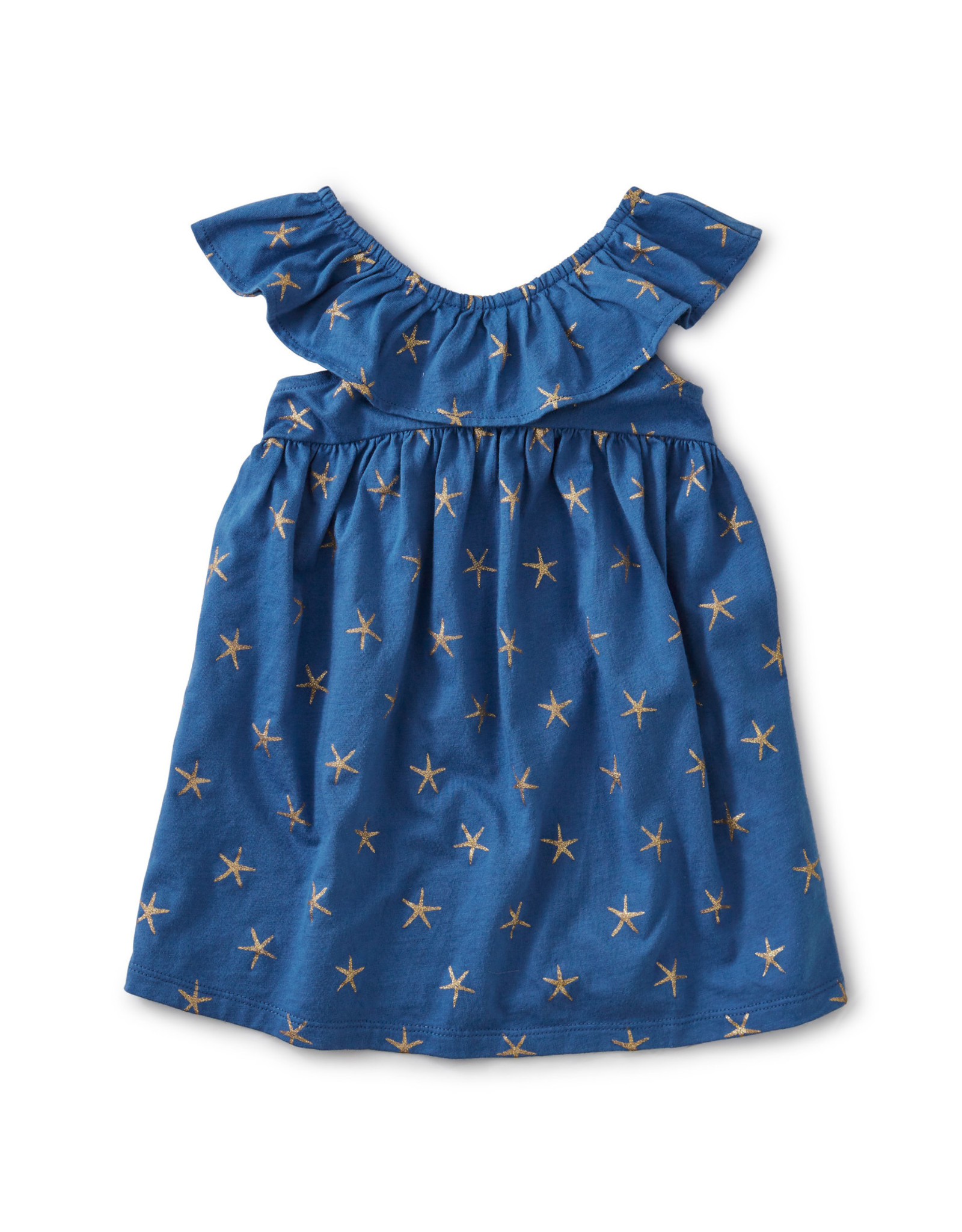 RUFFLE NECK DRESS - SPARKLE STARS BATIK BLUE