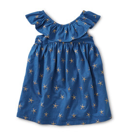 RUFFLE NECK DRESS - SPARKLE STARS BATIK BLUE