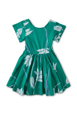 BUTTON BACK DRESS - LOTUS FLOWER VIRID