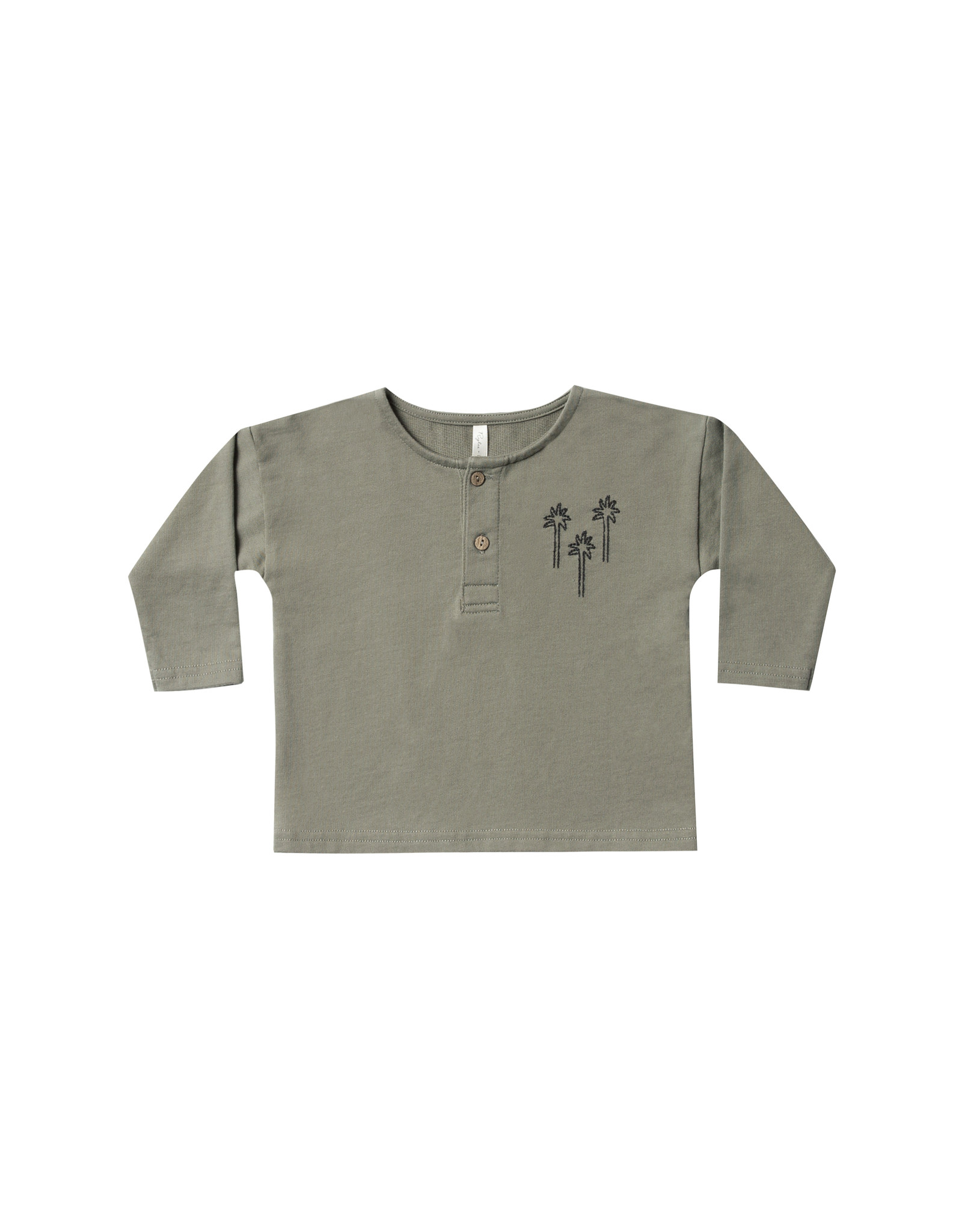 Rylee + Cru PALM TREE HENLEY SWEATSHIRT